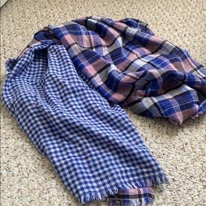 Two sided Blue plaid and gingham scarf